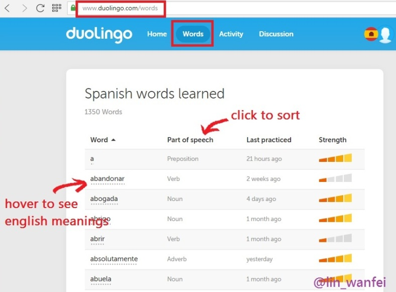 Duolingo Spanish words list